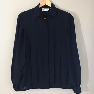 Vintage 90s Black Pintuck Blouse